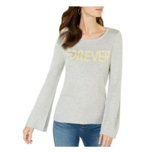 INC Womens Sweater Pullover Gray Bell Sleeve
